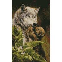 Набор для вышивки крестом Волчица с детенышем  KUSTOM KRAFTS  /  Канада (27,9 х 45,7)