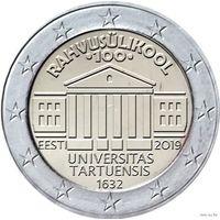2 евро Эстония 2019 100-летие перевода обучения на эстонский язык Тартуского университета UNC из ролла