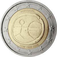 2 евро Португалия 2009 10 лет Экономическому и Валютному союзу UNC из ролла