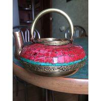Заварочный чайник старинный (латунь, эмаль)