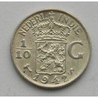 Голландская Ост-Индия, 1/10 Гульдена 1942 S, Серебро (66)