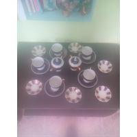 СЕРВИЗ     не полный пять чашек 6 блюдец для варенья сахарница  чайник  КОБАЛЬТ