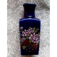 Мини-ваза 9 см, керамика, кобальт, японские мотивы, роспись, позолота