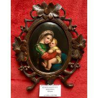 Икона Мадонна с младенцем XIX век;Живопись на фарфоре,дерево,резьба