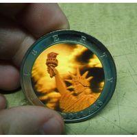 Либерия 10 долларов 2002г. Статуя свободы. Голограмма 3D.