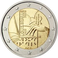 2 Евро Италия 2009 200 лет со дня рождения Луи Брайля UNC из ролла