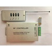 Контроллер + пульт 4 кнопки. 12В, 24В, 12А. 144Вт. RGB RF-контроллер для светодиодных изделий, ленты итд. 12 и 24 Вольт