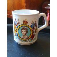 Кружка Англия 1952-77, королева Елизавета II, серебряный юбилей, 25 лет правления, без сколов и трещин, высота 9, верх. диаметр 8 см.