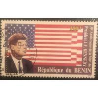 Бенин. 1993 год. 30летие со смерти Дж.Ф.Кеннеди. Гашеная