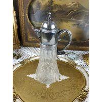 Что подарить на юбилей или свадьбу ? Стильный декантер для вина и воды Хрусталь серебрение