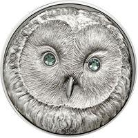 "RARE Монголия 500 тугриков 2011г. ""Защита дикой природы: Сова"". Монета в капсуле; сертификат. СЕРЕБРО 31,135гр.(1 oz)."