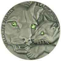 """Ниуэ 1 доллар 2016г. """"Семья дикой природы. Пума"""". Монета в капсуле; деревянном подарочном футляре; сертификат; коробка. СЕРЕБРО 31,135гр.(1 oz)."""