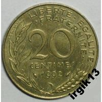 20 сантимов 1992 г. Франция.