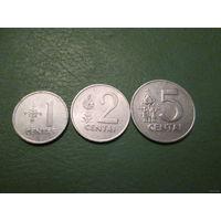 1, 2, 5 центов Литва 1991 г. - комплект