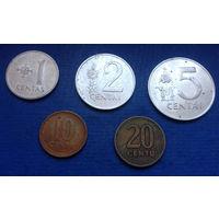 Литва 1, 2, 5, 10, 20 центов 1991