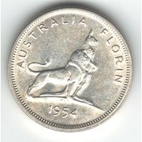 Австралия флорин 1954 года. Серебро. Состояние аUNC!