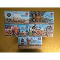 США .Коллекционный набор  пятицентовиков, одним лотом. Пять комплектов, по две монеты, в подарочной упаковке.