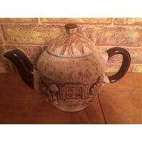 Необычно красивый чайник из качественной керамики, новый, есть фабричный дефект (на фото3 виден, но это трещинка не от удара, а фабричный брак). Чайник примерно на 750 мл,высота 15 см с крышкой, объем
