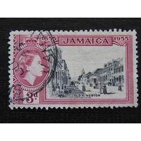Английская Ямайка 1955 г. королева Елизавета II. Старый Кингстон.