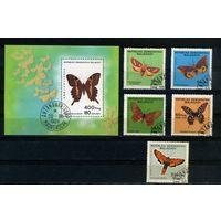 Мадагаскар 1984г, бабочки, 5м. 1бл.