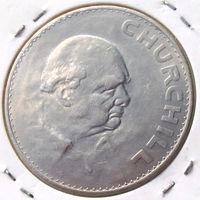 Великобритания, 1 крона 1965 года, состояние AU, юбилейная, Сэр Уинстон Черчилль, KM#910