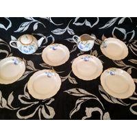 Тарелки, заварник, молочник Дулево поштучно сервиз голубая роза