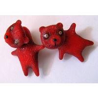Красные медвежата. Серьги лже-плаги (мед.сплав)
