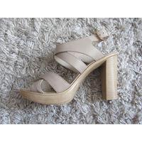 Босоножки на каблуке, размер 40, цвет бежевый