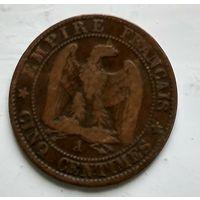 """Франция 5 сантимов, 1863 """"A"""" - Париж 2-8-5"""