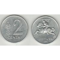 Литва _km86 2 цента 1991 год (h01)