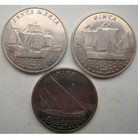 Кирибати (Острова Гилберта) 1 доллар 2016 г. Корабли. Парусники Колумба. Цена за 3 шт. (ar)