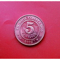 84-08 Никарагуа, 5 сентаво 2002 г. Единственное предложение монеты данного года на АУ