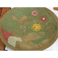 Тарелка латунь с эмалями