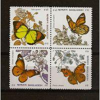 Фауна Бангладеш, 1990, бабочки, сцепка, 10 евро**