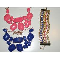 """Колье модное """"Камни"""" на выбор, ожерелье, украшение, синее или розовое, есть браслет к ним"""