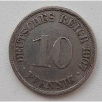 Распродажа - Германия (Империя) 10 пфеннигов 1907 (А)_km#12