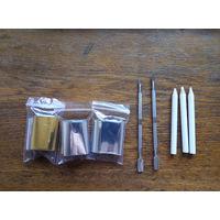 Фольга много серебро и золото, пушеры 2 шт, 3 восковых карандаша