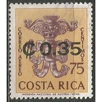 Коста-Рика. Авиапочта. Глиняная статуэтка. Надпечатка на #649. 1966г. Mi#695.
