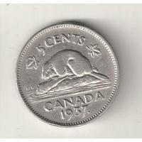 Канада 5 цент 1937