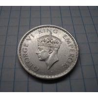 Британская Индия 1/2 рупии 1942, серебро
