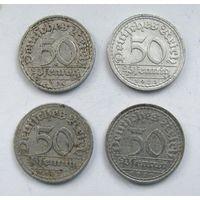 1919, 1920, 1921, 1922 г.г. 50 пфеннигов. Германия