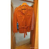 Куртка коженная женская, мягкая кожа, б/у, 48 размер
