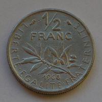 Франция, 1/2 франка 1968 г.