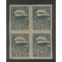 Эстония 8-й станд. вып. 25п (квартблок) 1920 г