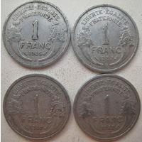 Франция 1 франк 1946, 1947, 1957 гг. Цена за 1 шт. (g)