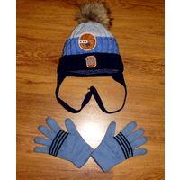 Шапка зимняя утепленная р. 52-54, перчатки зимние.