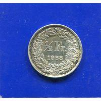 Швейцария 1/2 франка 1958 , серебро