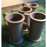 Старые оловянные мерки мерные кружки клеймо DAMART 4 шт. одним лотом Европа