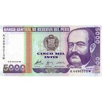 Перу, 5 000 интис, 1988 г., UNC