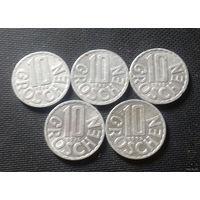 10 грошей, Австрия 1966, 1967, 1969, 1976, 1998 г.